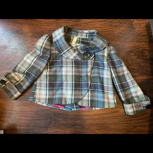 Fossil Wool Cropped Plaid Jacket